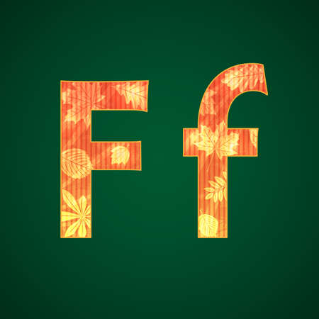 Vector letter F with autumn leaves upper and lower cases Vector