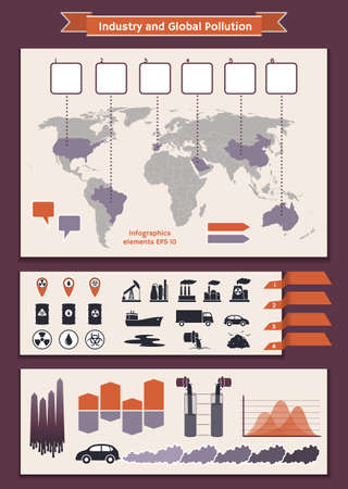 Vector set of elements of infographic for visualization worldwide industry and global pollution Vector