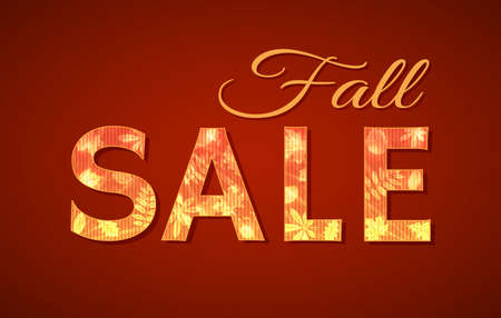 Vector sign with text Fall Sale with autumn leaves for seasonal sale Vector