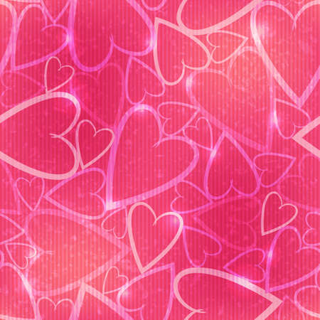 Vector seamless pattern with many hearts on the pink background Vector