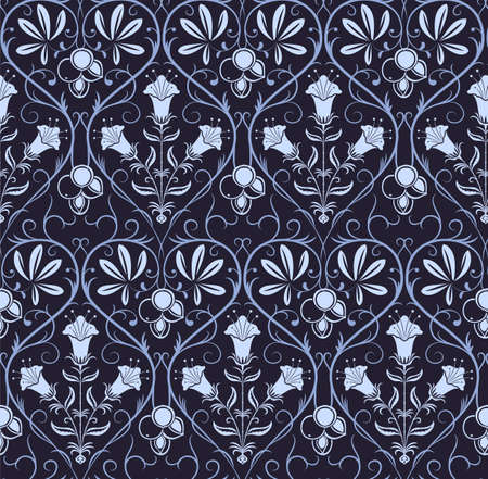 classicism: Blue seamless pattern with geometrical floral ornament