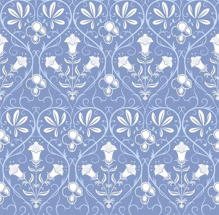 青い背景の花飾りと白いシームレスなパターン