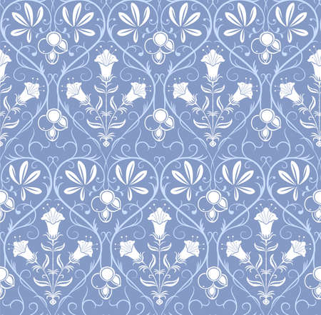 White seamless pattern with floral ornament on blue background