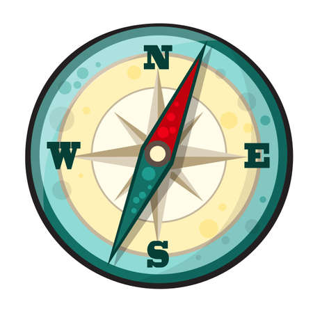 navigational: Vector illustration of compass in cartoon style