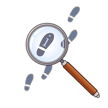 Vector illustration of searching concept with magnifying glass and footprints