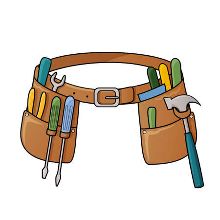 建設のためのさまざまなツールとツール ベルトのベクトル イラスト