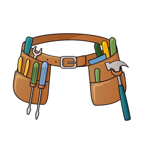 herramientas de carpinteria: Ilustraci�n vectorial de cintur�n de herramientas con diferentes herramientas para la construcci�n