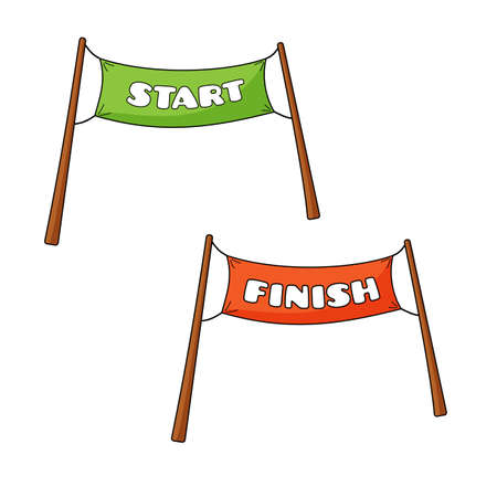finishing line: Vector illustration of transparency of Start and Finish in cartoon style Illustration