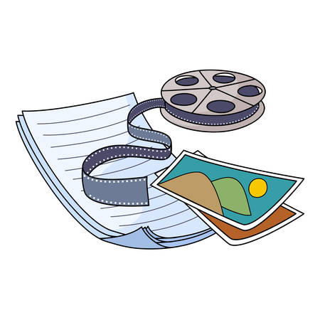 Vector illustration of Media storage film, folder, pictures Vector