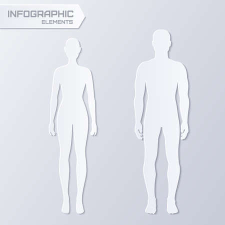 Vector infographics elements - paper silhouettes of man and woman in grey color
