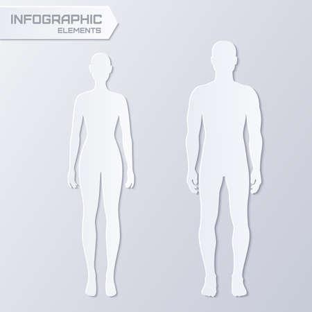 Vector infographicselementen - papier silhouetten van man en vrouw in grijze kleur