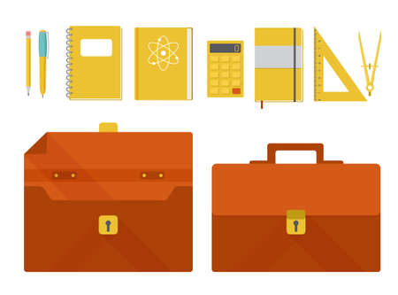Set of vector illustrations of briefcase and school supplies flat design Vector