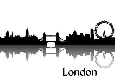 イギリスの首都ロンドンの黒いシルエットのベクトル イラスト