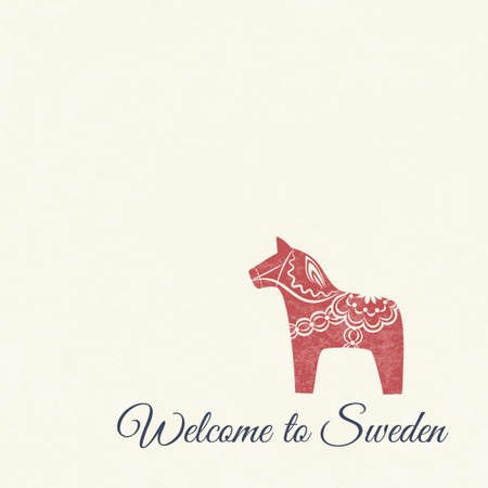 Greeting card with red dala horse - national symbol of Sweden from Dalarna 向量圖像