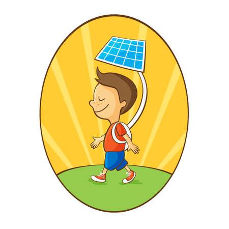 portative: Ragazzo con la batteria solare portatile come concetto di utilizzare l'energia solare Vettoriali