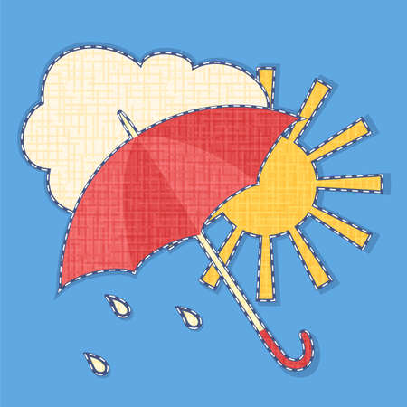 brightly colored: Vector icon of cloud, sun and umbrella with fabric texture effect