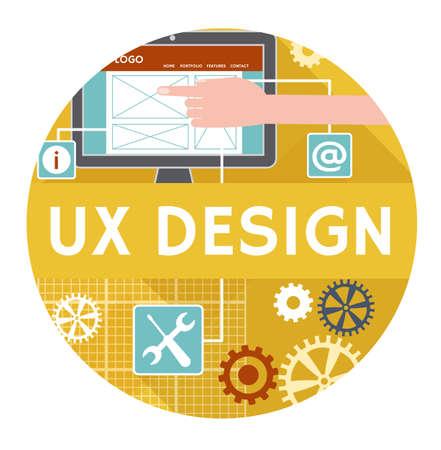 Ux デザインのベクトルのアイコンまたはバナーの概念。フラットなデザイン  イラスト・ベクター素材