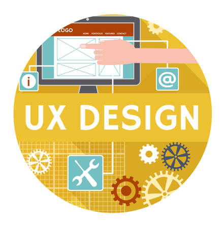 Vector icon or banner concept of ux design. Flat design Vector