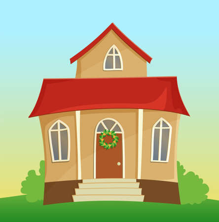 residences: Vector illustration of beautiful cartoon house with red roof