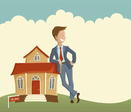 Vector illustratie van de mens die de sleutel en leunend op het huis