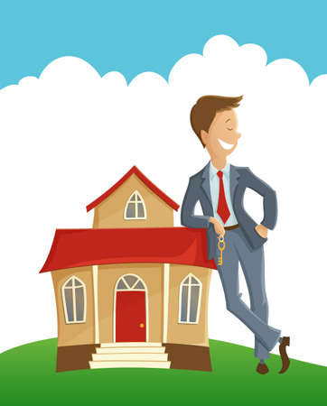 Vector illustration of man holding the key and leaning on the house Vector