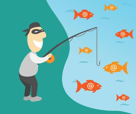 Conceptuele vector illustratie van internet phishing met visser en e-mails Stock Illustratie