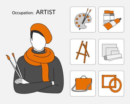 portative: Set di icone di occupazione per il negozio artista, design piatto