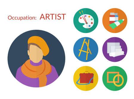 portative: Set di icone per il design piatto artista