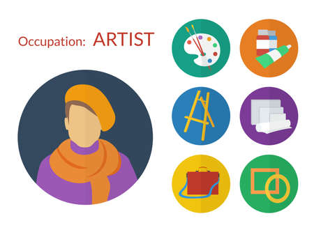Set of icons for artist flat design Vector