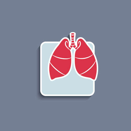 Vector paper cut-out icon of internal human organ lungs Vector