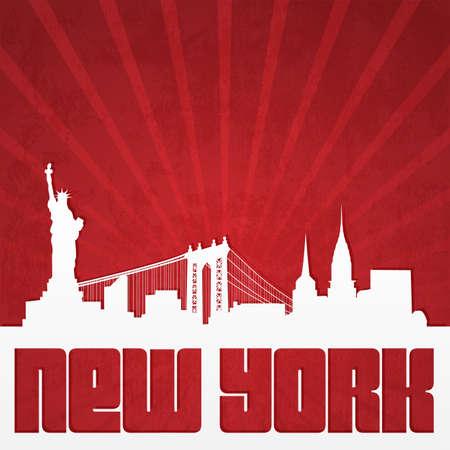 ビンテージ スタイルのニューヨークのスカイラインのシルエットを紙カット