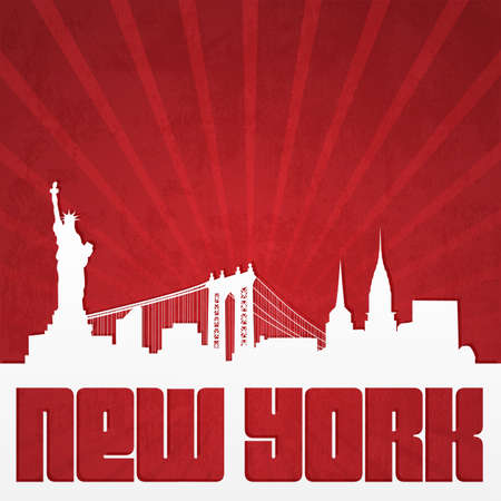 manhattan skyline: Paper-cut silhouette of New York skyline in vintage style