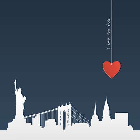 vue ville: Silhouette blanche d'horizon de New York avec le coeur, coupe-papier Illustration