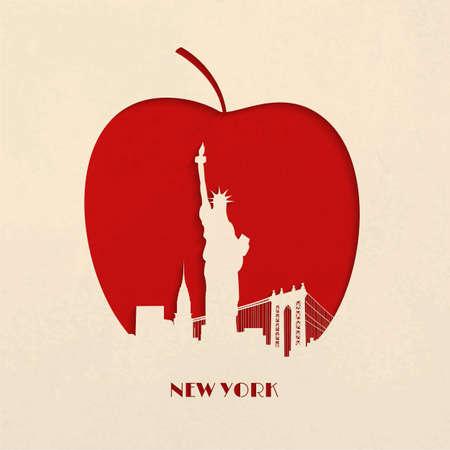 manzana: Silueta Papel-corte de línea del horizonte y de la estatua de la Libertad en la Gran Manzana de Nueva York Vectores