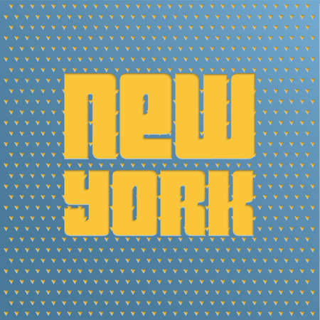 known: Cut-out text New York on the metallic background in vintage style