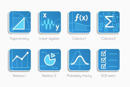 signos matematicos: Vector conjunto de iconos de diferentes direcciones de las matemáticas