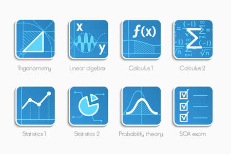 probability: Vector set of icons for different direction of math Illustration