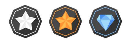 platina: Vector set met awards iconen van zilver of platina, goud, diamant