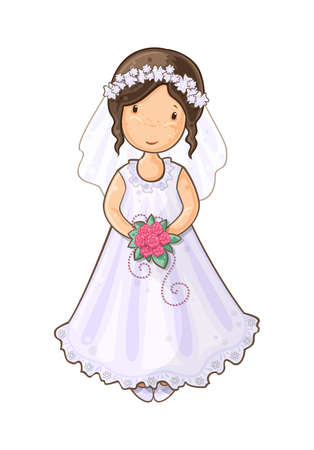 Cartoon illustration of  a girl in wedding dress Vector