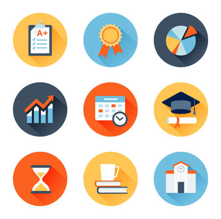 quality assurance: Vector set of flat icons education, exam, graduation and quality assurance