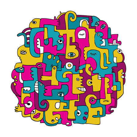 Doodles with bright traditional pattern of Latin America Illustration