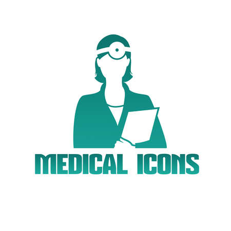 Flat medical icon with female doctor otolaryngologist