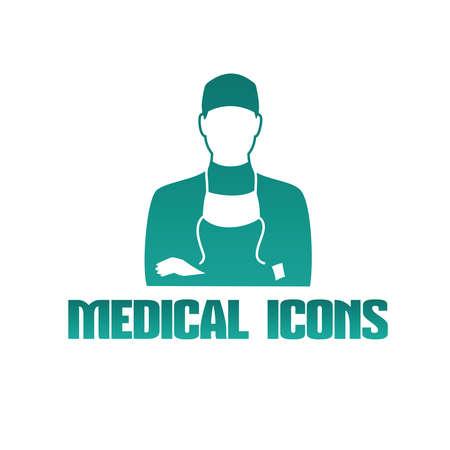 chirurgo: Appartamento Icona medica con maschio medico chirurgo Vettoriali