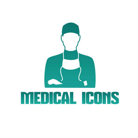 Flat medical icon with male doctor surgeon Illustration