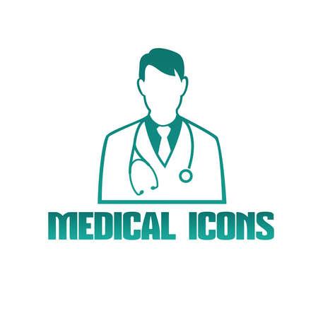 男性医師セラピストとフラット医療アイコン