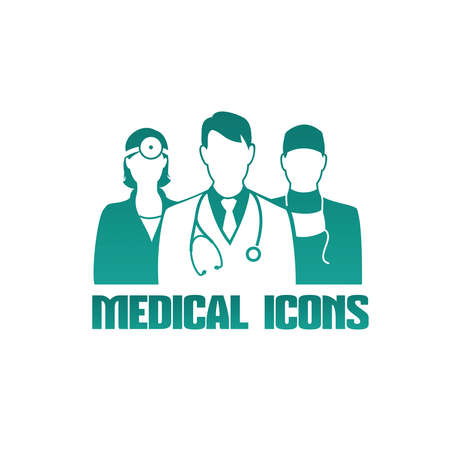 doctors: Medical icon with 3 different doctors as therapist, surgeon and otolaryngologist