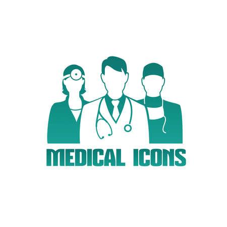 Medische pictogram met 3 verschillende artsen als therapeut, chirurg en KNO-arts Stock Illustratie