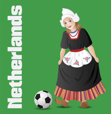 dutch girl: Netherlands as a girl in traditional dutch folk costume with soccer ball Illustration