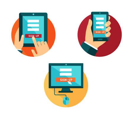 Conjunto de iconos de ordenador, smartphone y tablet con el botón de registro vectorial