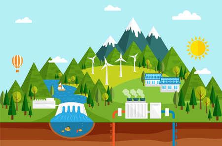 Las energías renovables, como la hidráulica,, instalaciones solares de generación de energía geotérmica y eólica Ilustración de vector